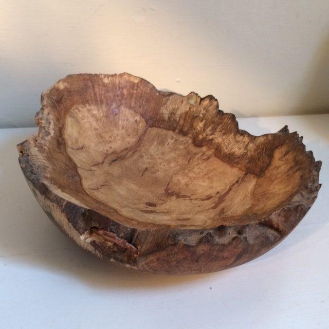Copper hare and Owl on burr oak bowl