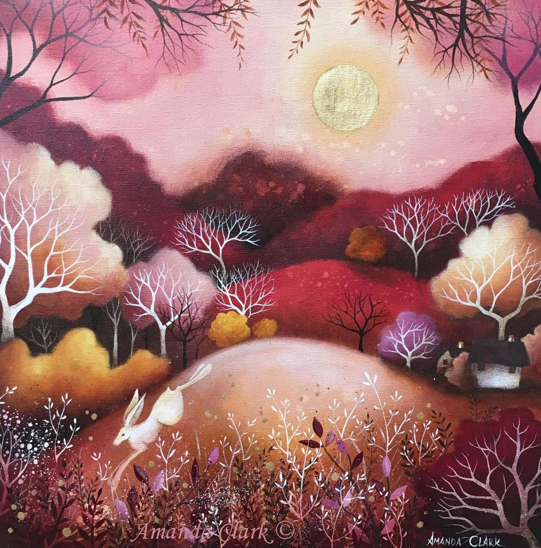 Acrylic on Canvas Rose Moon