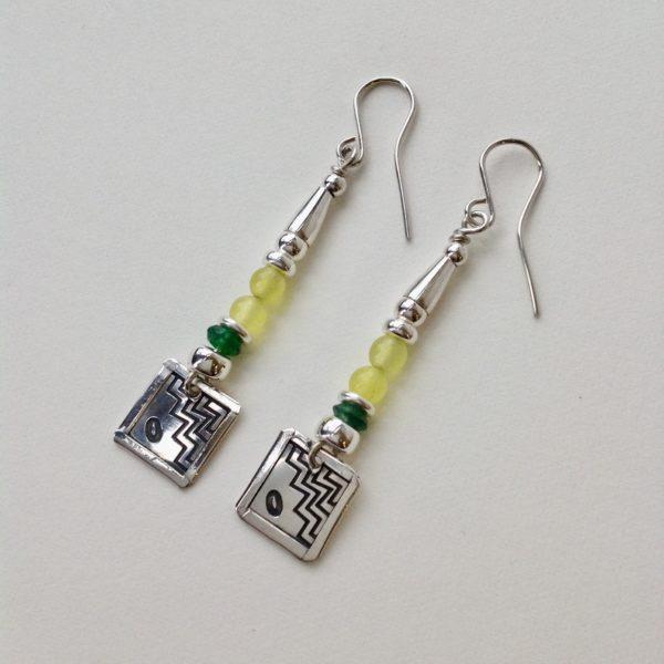 Silver, Aventurine and Serpentine earrings