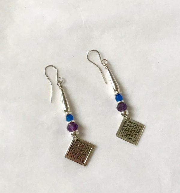 Silver, Amethyst, Blue Carnelian Earrings