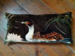 Hand painted silk velvet Cushion  Grebe Charcoal Grey