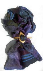 Hand Dyed Silk mesh and merino wool Scarf