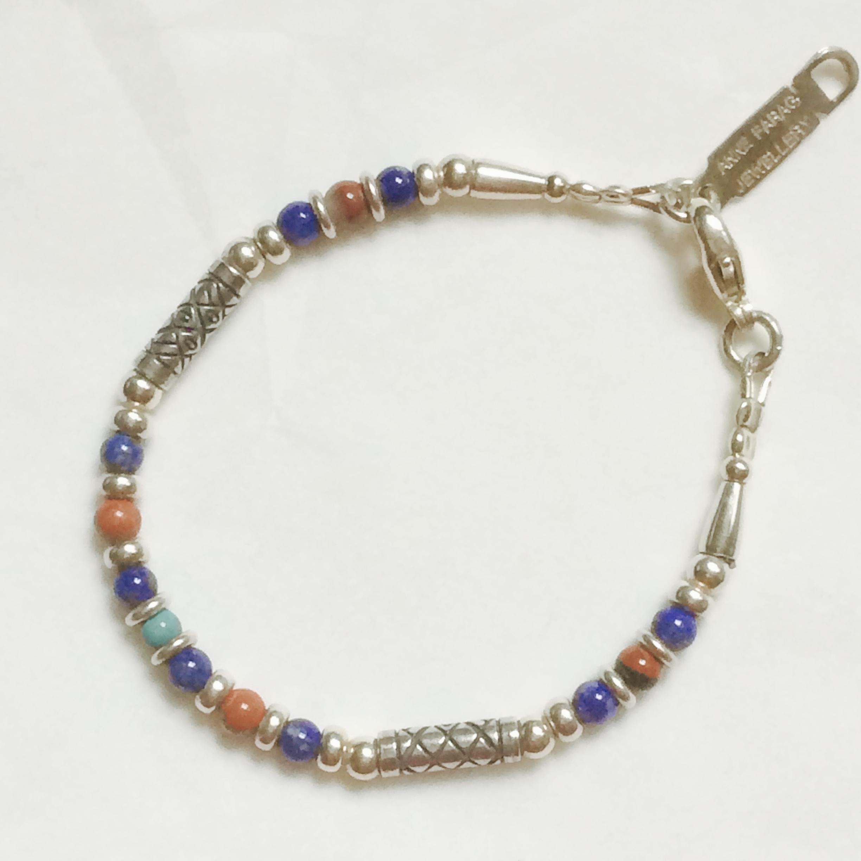 Silver, Lapis, Jasper and Turquoise Bracelet