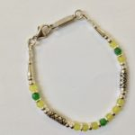 Silver, Aventurine and Serpentine Bracelet