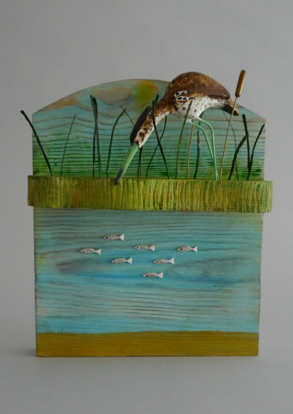 'Bittern in the Reeds' Carved Wood