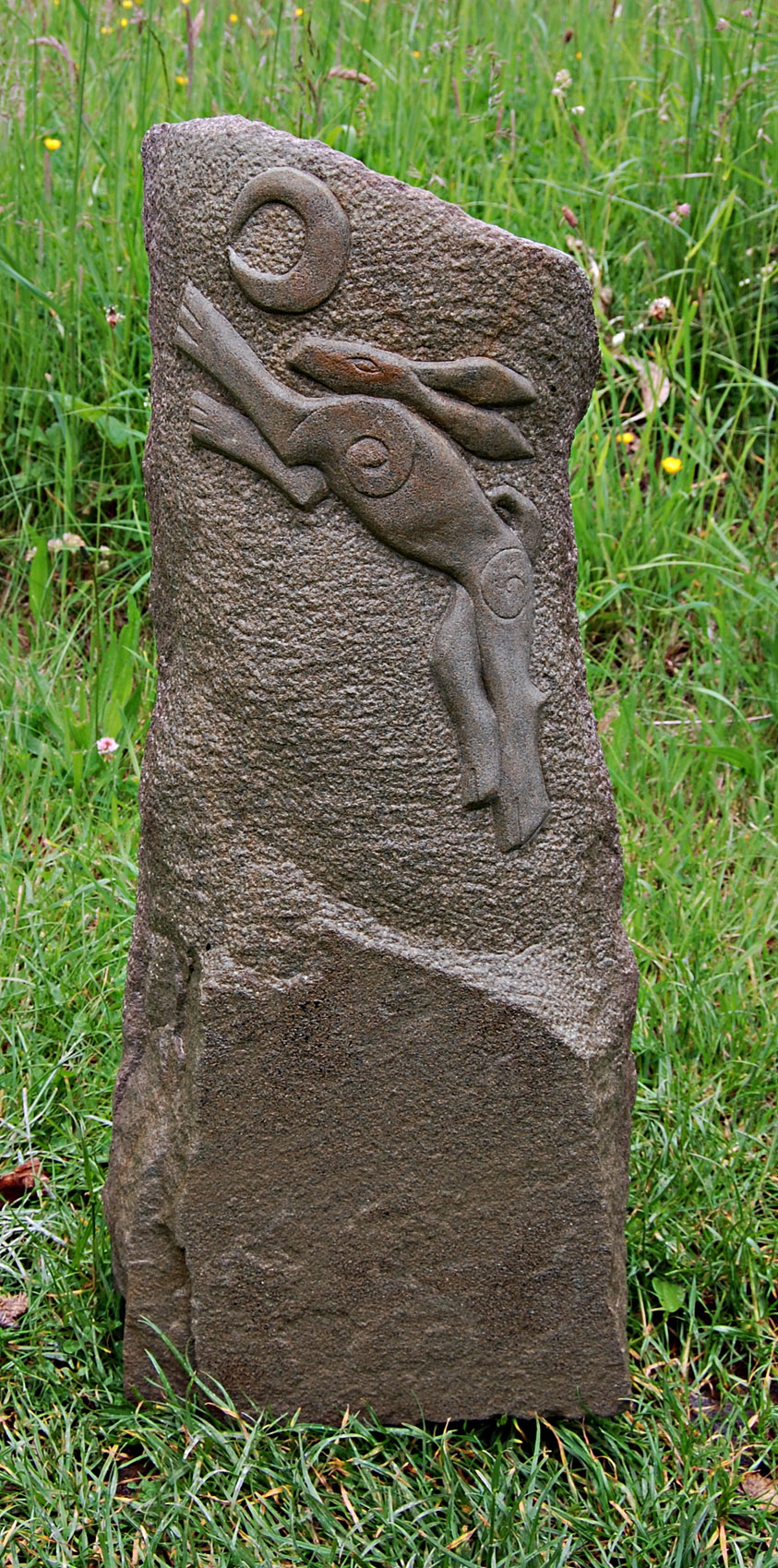 Hand Carved Forest Of Dean Stone Unique Hare and Moon