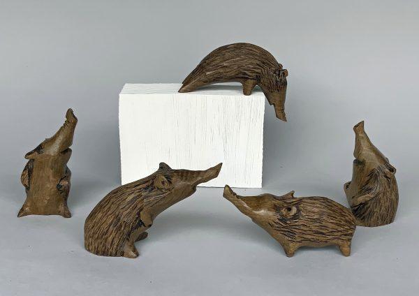 'Hedgehog Family' Carved Wood