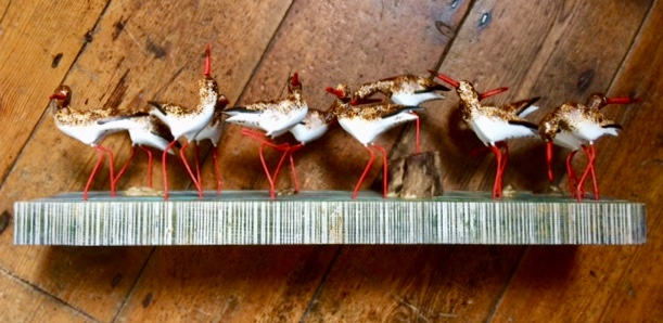 Hand Carved Wooden Sculpture Red Shanks