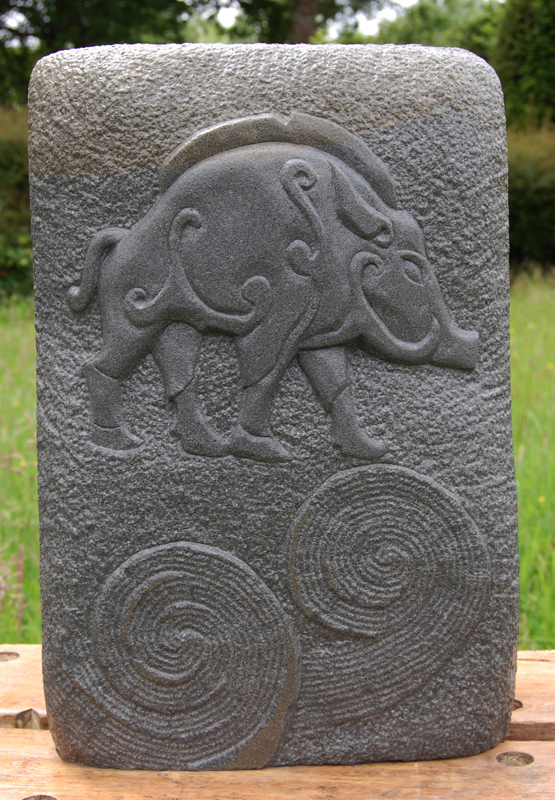 Hand Carved Forest of Dean Stone Unique Wild Boar