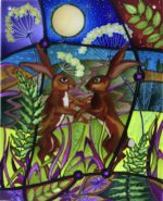 Hand Painted Glass Panel 'Boxing Hares'