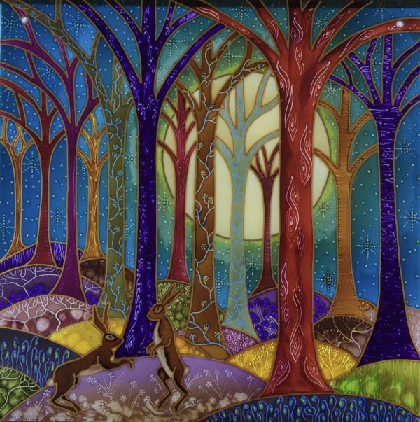 Hand Painted Glass Panel 'Woodland Hares'