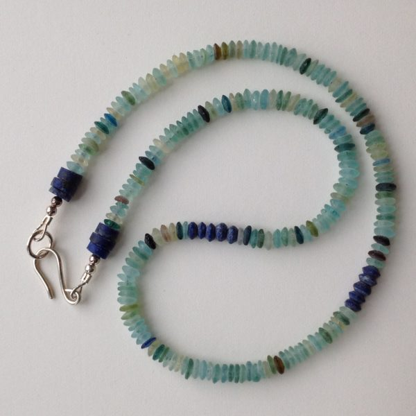 Necklace in 2000 year old Roman glass with Lapis