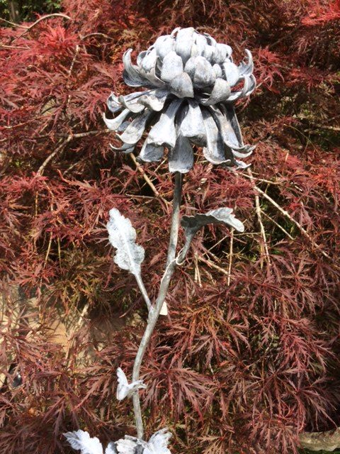 Forged Iron Chrysanthemum on spike