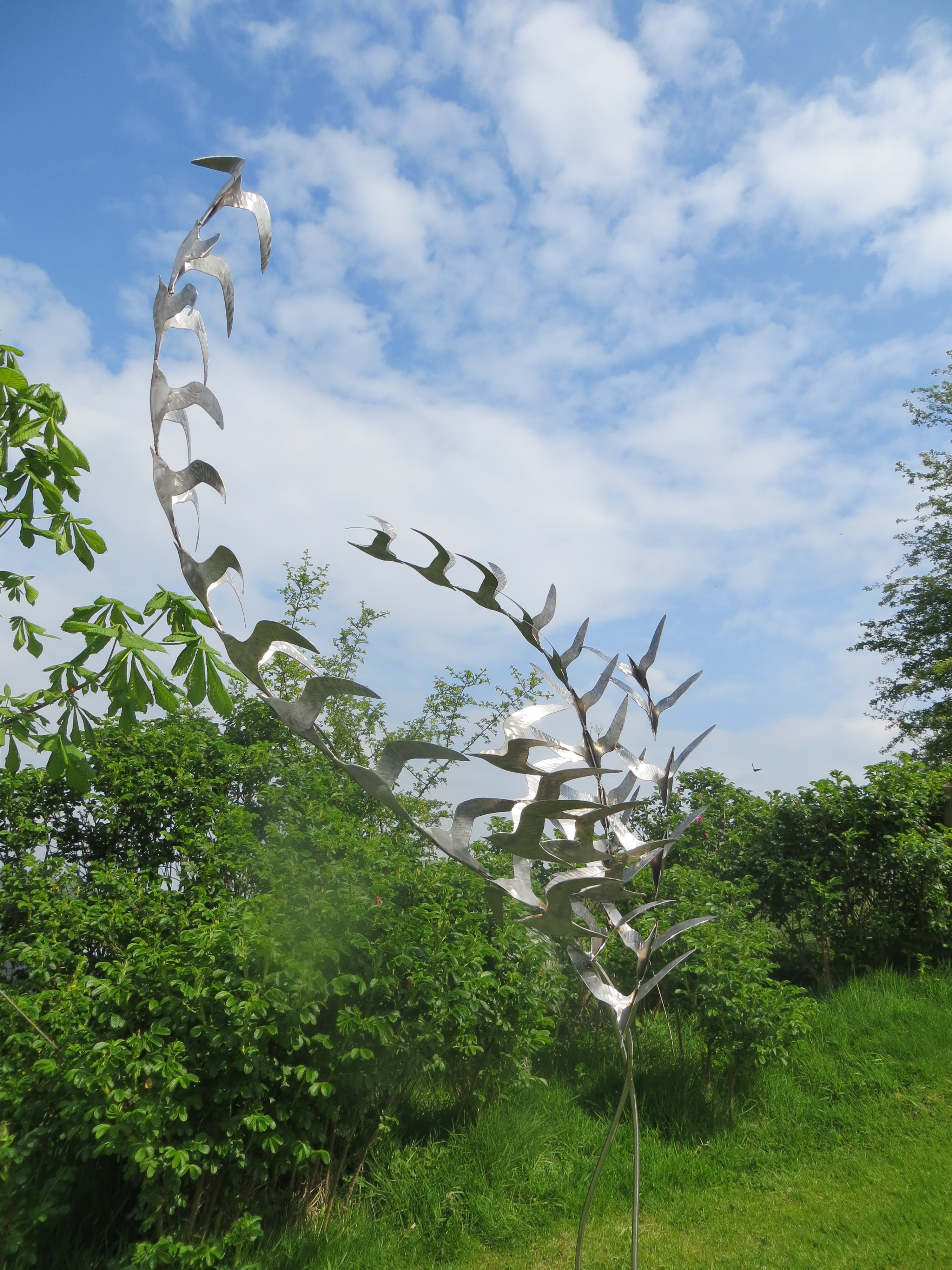 Stainless Steel Garden Sculpture of Terns