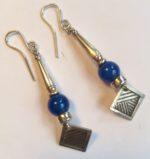 Silver and Blue Carnelian Earrings