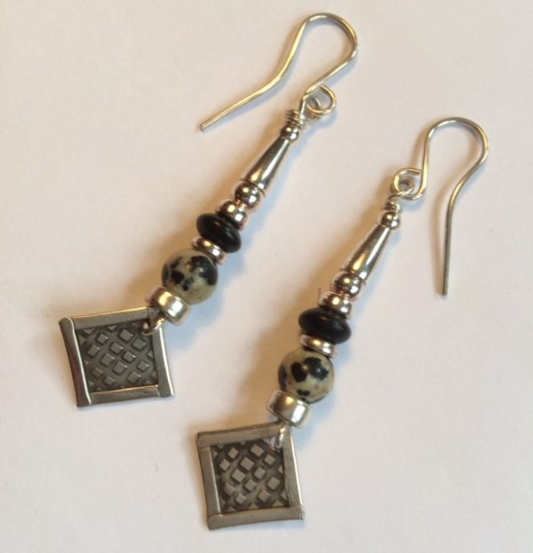 Silver and Dalmation Agate & Matt Onyx Earrings