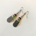 Silver with Serpentine & Carnelian Earrings