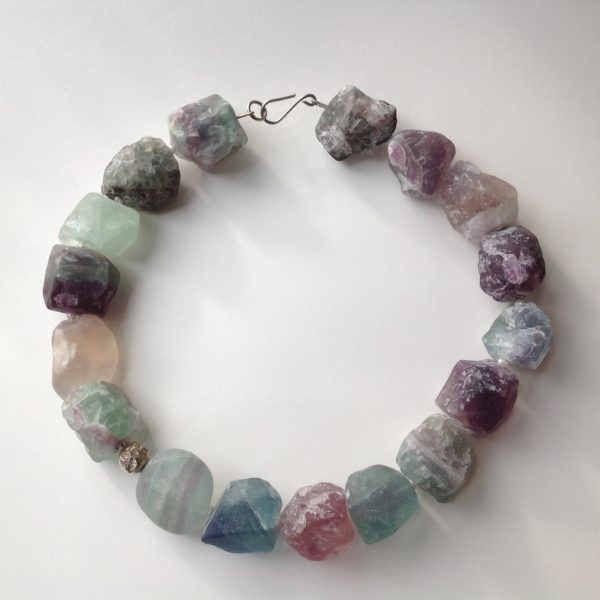 Necklace in Fluorite with pearls and silver
