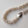 Necklace in Ivory Biwa Pearls with Silver