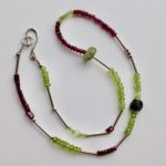 Necklace with Garnet, Peridot, Silver