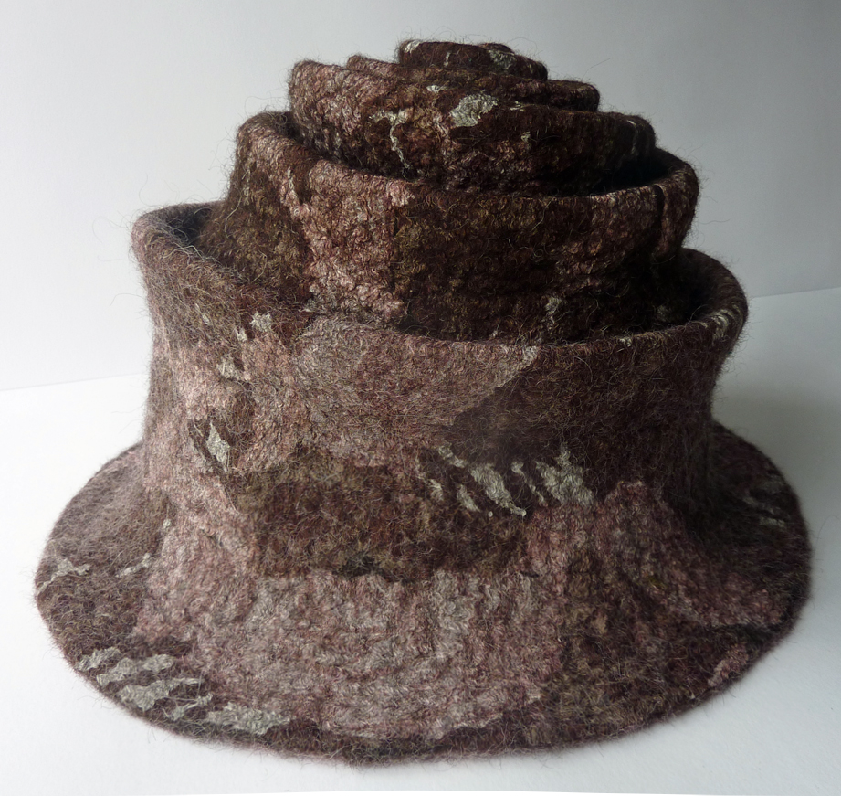 Hand Felted Concertina Hat in Brown