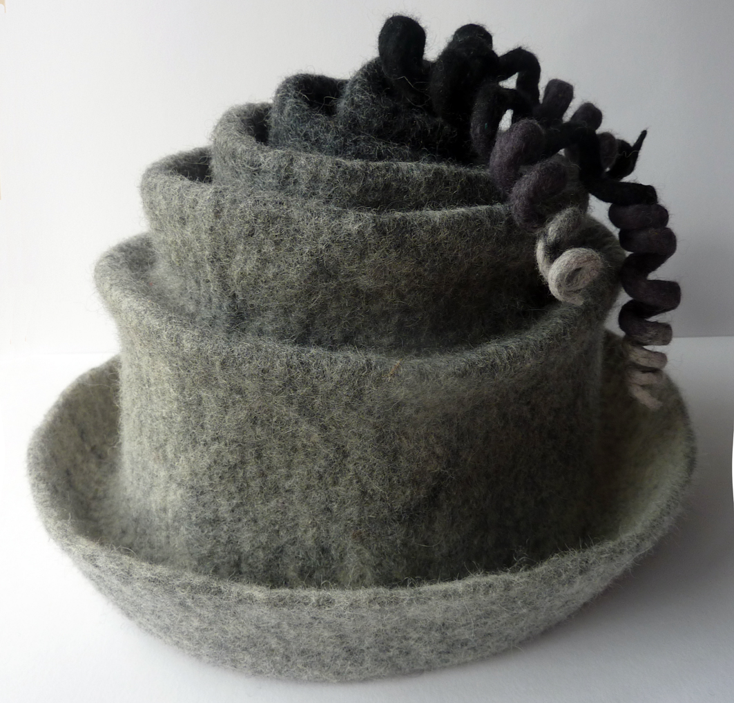 Hand Felted Concertina Hat in Grey