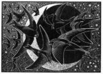 Wood Engraving Swifts, Stars and Sickle Moon