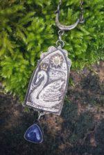 Silver Crowned Swan Pendant