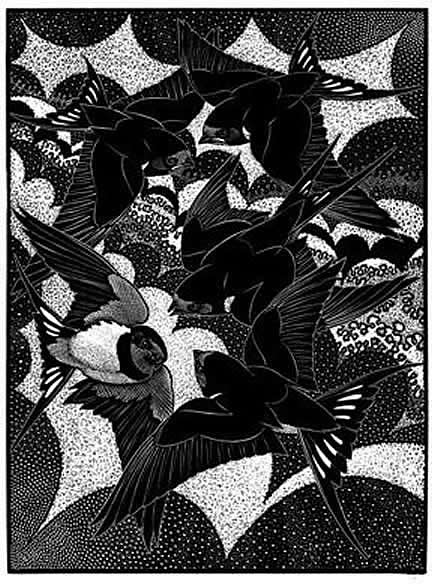Wood Engraving Valediction of Swallows