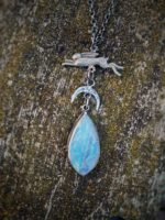 Moon Hare Pendant with Carved Moonstone