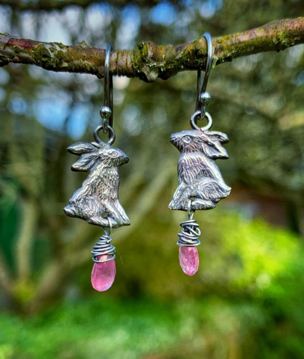 Silver Hare earrings with Pink Sapphires