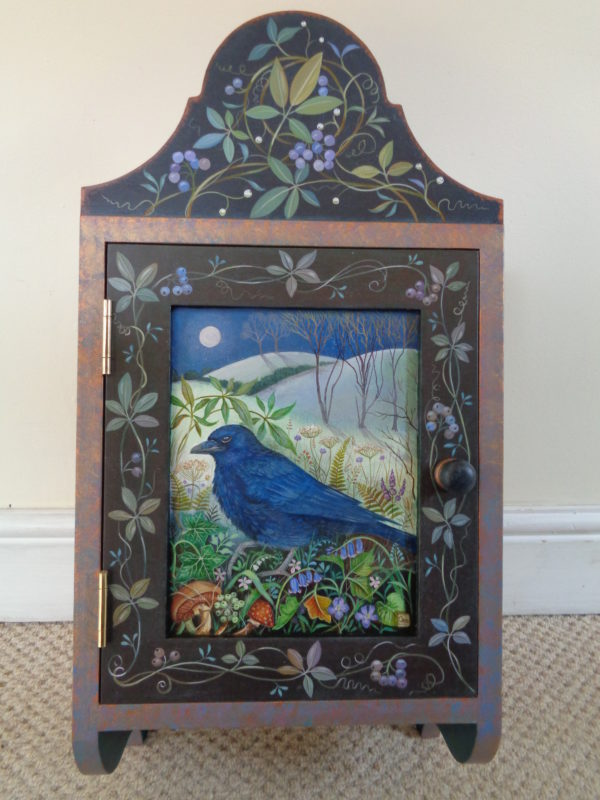 Hand painted cupboard 'Twilight Crow'
