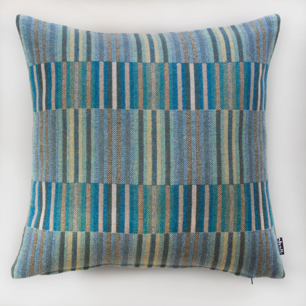 Pure Wool Woven Cushion in Turquoise