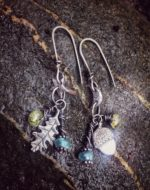 Oak and acorn earrings with green garnet and apatite