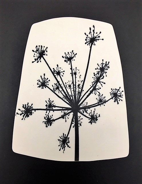 Ceramic Wall Mounted 'Umbellifer Silhouette' Printed Porcelain