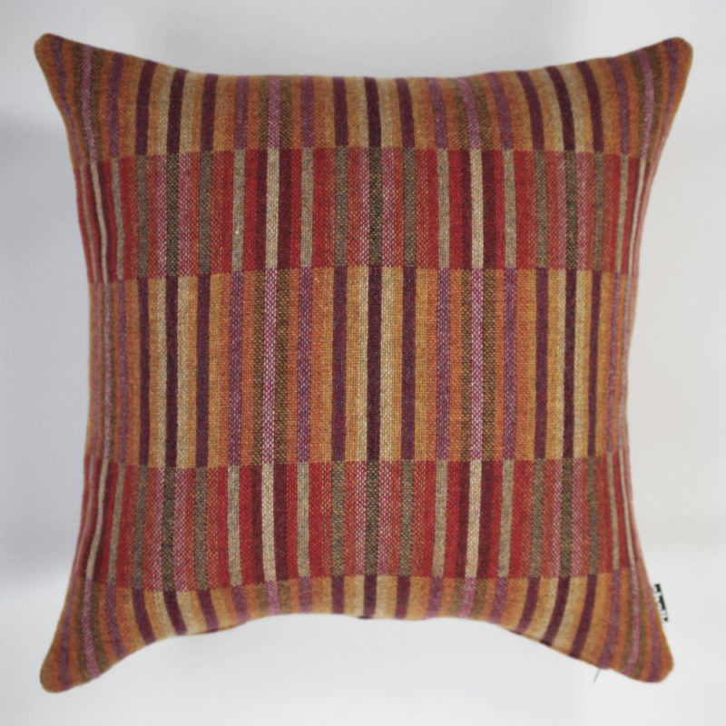 Pure Wool Woven Cushion in Berry