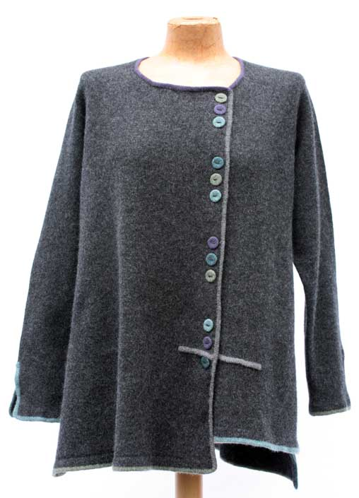 Felted Merino Wool Multi Button Piped Jacket