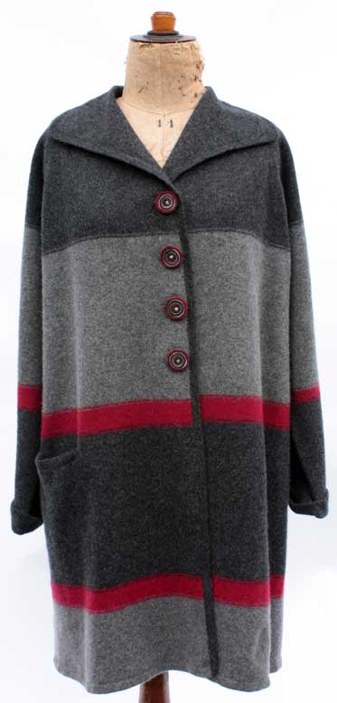Felted Merino Wool Stripy 4 Button Coat