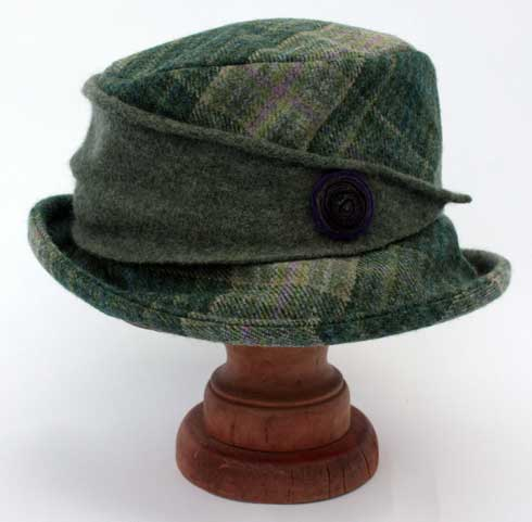 Tweed hat with knitted trim in Landscape