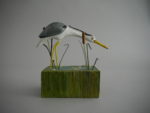 Hand Carved Wood 'Heron in the Reeds'