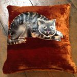 Hand painted silk velvet Tabby Cat cushion