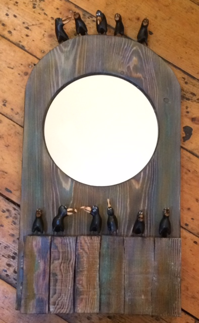 Hand Carved Wooden Rookery Mirror