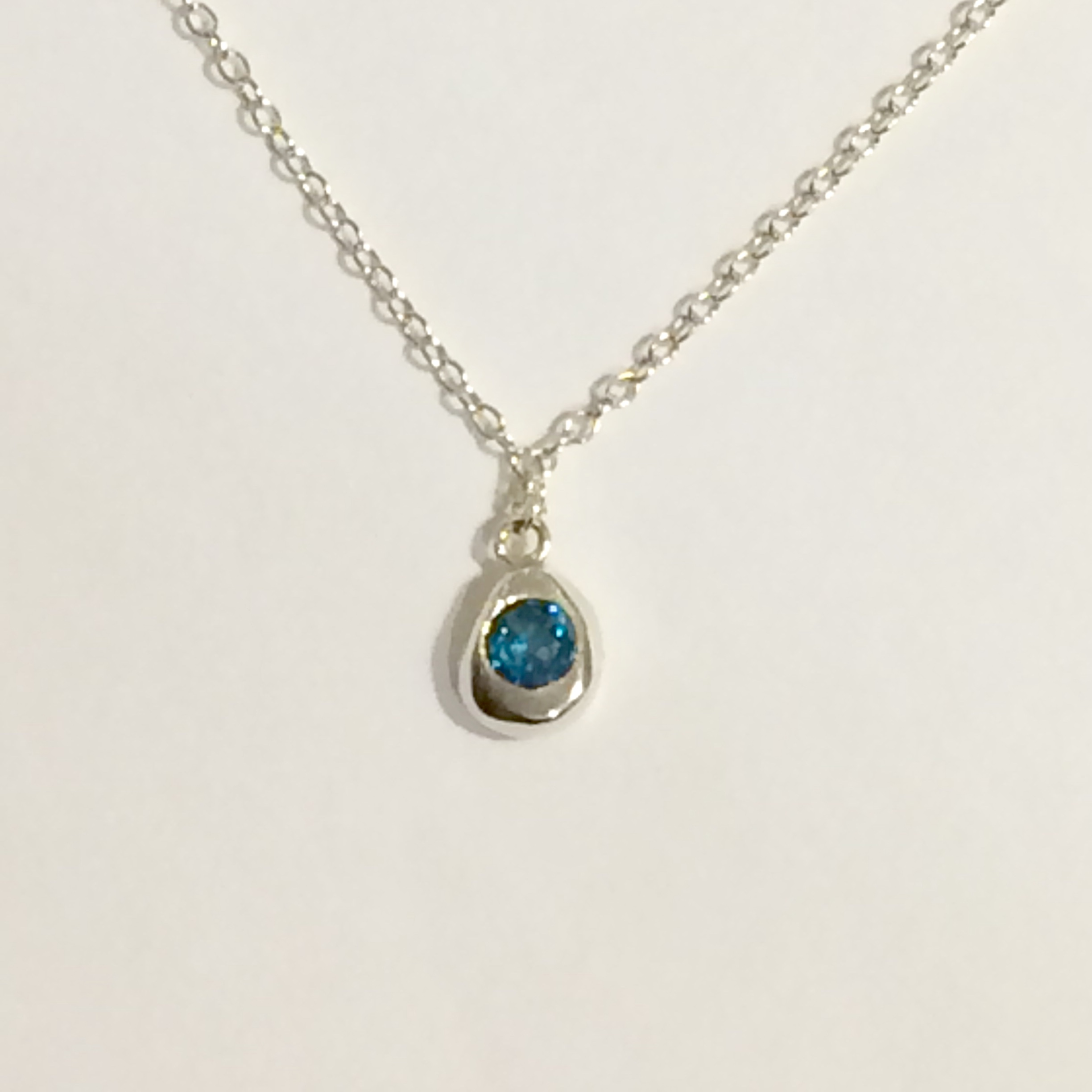 Silver and Topaz Pendant Necklace