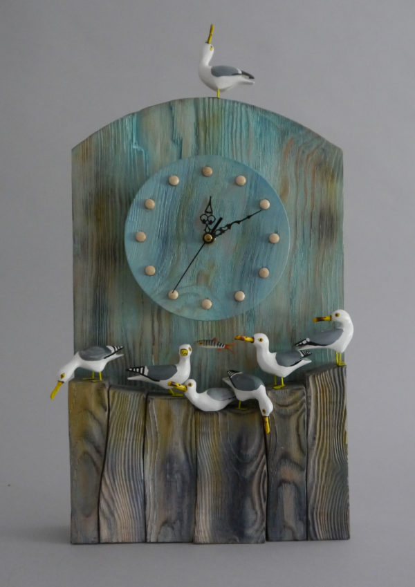 Hand carved wooden clock 'Sea Gulls'