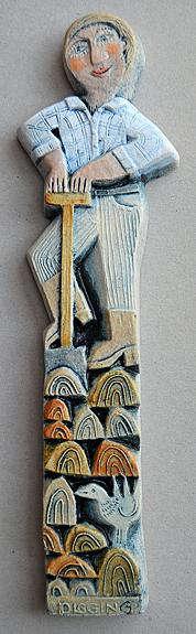 Ceramic Relief 'Digging'