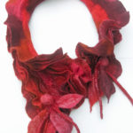 Hand Felted Ripple Collar in reds