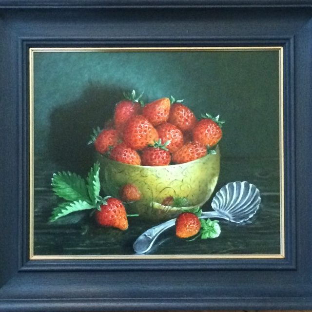 Still Life in oil on board 'Strawberries in Brass Bowl'