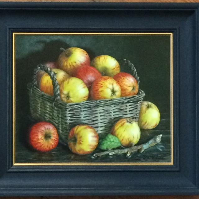 Still Life in oil on board 'Basket of Cider Apples'