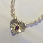 Silver Heart Necklace with Amethyst on Fresh Water Pearls