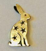 Brass & Bronze Sitting Hare Brooch